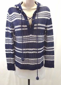 TORY BURCH Blue & White Striped Hooded Linen Knit Tunic Sweater Women's XS  #ToryBurch #Hooded