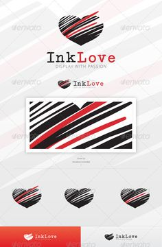 Ink Love Logo Template #GraphicRiver An excellent and minimal logo template suitable for any Boutique, Wedding, Dating, Writing or Love related industry or business companies, with the amazing heart shape as the main visual impact, with a deep touch of care. This file is easy to edit with highly organized layers, and contains: Resisable Vector logo; Vector Horizontal and Vertical display; Symbol's high resolution files, ready to use; Symbol's Color Variations as shown in the preview; Vector…
