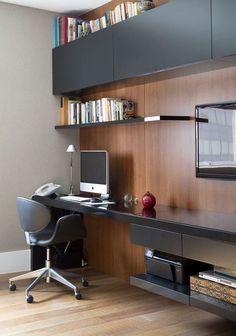 Home Office madeira e preto fosco