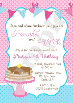 Pancakes and pajamas party invitation pancake birthday party pancakes and pajamas party invitation pancake birthday party invite customized and personalized digital file party inspiration pinterest party filmwisefo