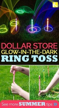 camp activities Use glow sticks and glow-in-the-dark necklaces from the dollar store to create a nighttime ring toss game perfect for summer evenings. My kids are obsessed with these summer bucket list activities, and I hope your kids will enjoy them too! Summer Party Games, Outdoor Party Games, Kids Party Games, Fun Games, Camping Party Games, Sleepover Games, Outdoor Teen Games, Kids Camp Games, Kid Party Activities