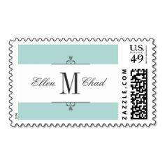 Aqua Monogram Wedding Stamps. This great business card design is available for customization. All text style, colors, sizes can be modified to fit your needs. Just click the image to learn more!