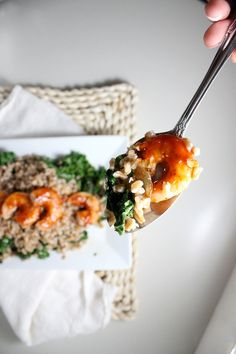 Healthy Farro with Sauteed Kale and Barbecue Shrimp by keystothecucina.com @keystothecucina