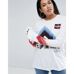 ASOS CURVE Ultimate T-Shirt with Long Sleeve with Sports Logo Print (€22) ❤ liked on Polyvore featuring tops, t-shirts, print t shirts, women's plus size tops, longsleeve t shirts, womens plus size t shirts and long sleeve t shirts