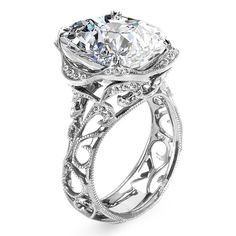 Brides.com: Over-the-Top Engagement Rings. Style R2784, 18k white gold and diamond ring with oval-cut center stone, Parade See more oval-cut engagement rings.