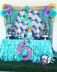 Lisa's Birthday / Mermaid - Kaylee Mermaid Birthday Party at Catch My Party Mermaid Theme Birthday, Little Mermaid Birthday, Little Mermaid Parties, Mermaid Themed Party, 6th Birthday Parties, Birthday Ideas, 4th Birthday, Girls Birthday Party Themes, Birthday Banners