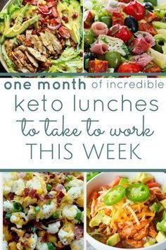 a whole month of low carb keto friendly lunch ideas. simple recipes for busy people. unboring lunch ideas you won't get bored with. keto diet keto lunches ketogenic what is keto keto lunch ideas meal prep make ahead meals Keto Recipes: Keto Lunch Ideas, Lunch Recipes, Diet Recipes, Healthy Recipes, Simple Recipes, Diet Ideas, Lunch Snacks, Meal Ideas, Work Lunches