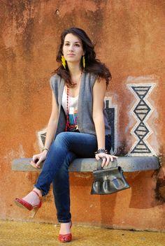 High Waist Jeans, High heels, Bahia Shirt and Positano, Naima Amarilli
