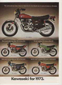 1973 Kawasaki Motorcycles All Models 2 Page by fromjanet on Etsy