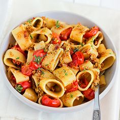 """Pasta with Olive Pesto and Tomatoes"""