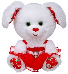 Build a Bear Workshop Merry Mint Peppermint Buddies 7 inch Pup Mini Stuffed Plush Toy Animal Brand New with Tag This adorable puupy dog is wearing a festive red fancy holiday dress She has super soft fur, sweet peppermint candy print on her paws and her ears, and lovely emerald green eyes Make a memorable Christmas gift for your loved one with this sweet stuffed Christmas puppy! A pawfect stocking stuffer or gift under the tree! A super cute addition to your holiday decorating decor!