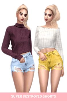 TS4 ELLIESIMPLE SUPER DESTROYED SHORTS - FROST SIMS 4