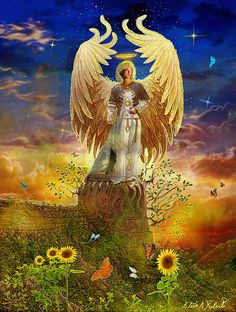 The Sun - Archangel Uriel - Angel Tarot Cards by Doreen Virtue and Radleigh Valentine. Artwork by Steve A.