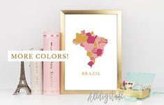 Brazil map print Brazil poster South America map print modern wall art Brazil prints mosaic map brazilian art print gold pink blue navy