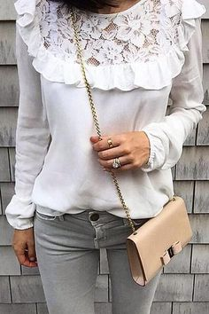 7c3ed19cdd634 Lace Ruffles Long Sleeve T Shirt
