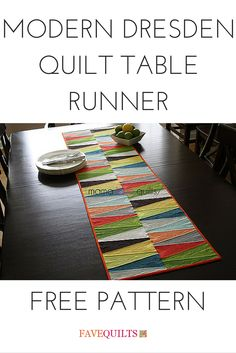 Modern Dresden Quilt Table Runner tutorial by Nicole Neblett from Mama Love Quilts. Break away from traditional Dresden plate quilt patterns and use your Dresden ruler to make this table runner