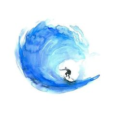 Surf watercolor painting Giclee print Surf art surfboard painting Wave... ❤ liked on Polyvore featuring home, home decor, wall art, typography wall art, aqua home accessories, giclee painting, wave painting and aqua home decor