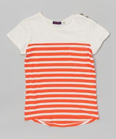 Another great find on #zulily! Ivory & Fire Orange Contrasting Stripe Knit Top - Girls by Dex #zulilyfinds