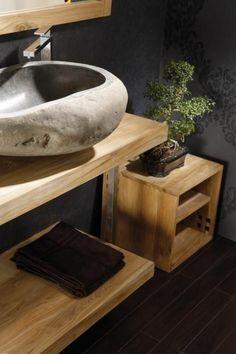 vasque en pierre, designs en bois et pierre