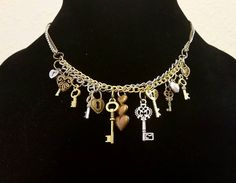 Brass, Gold & Silver, Lock & Key Steampunk necklace....  Check out this item in my Etsy shop https://www.etsy.com/listing/211724321/steampunk-key-chain-necklace-4