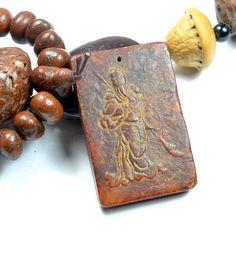 Ancient Warrior Sculptured Dark Red Jade by FortuneJadeJewelry, £102.00