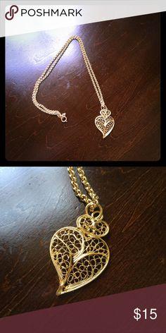 "Portuguese Filigree Heart necklace Gold filigree heart necklace from Portugal. Includes 12"" chain. Jewelry Necklaces"