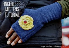 Fleece Fingerless Mittens Tutorial