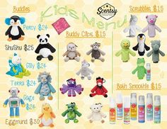 Scentsy Kid's line for spring and summer 2016. Buddies, Scrubby buddies, Bath Smoothies #scentsbykris