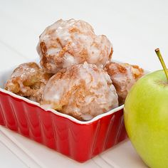 Apple Fritters Recipe Breakfast and Brunch, Desserts, Lunch and Snacks with vegetable oil, bisquick, cold water, eggs, granulated sugar, ground cinnamon, apples, cinnamon sugar, sugar, cinnamon, glaze, powdered sugar, milk
