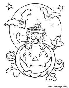 Coloriage halloween citrouille souriant Dessin à Imprimer