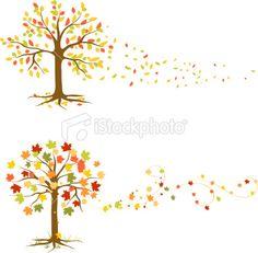Autumn tree illustrations.