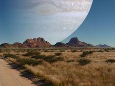 ¿Cómo se vería el cielo si Júpiter estuviera a la distancia de la Luna?  En esta fotografía se puede apreciar que parte de nuestro cielo ocuparía Júpiter(142.984 Kilómetros de diámetro) si se encontrara a la distancia de la Luna(3.476 Kilómetros de diámetro).  Esa distancia es de unos 380.000 Kilómetros de media, variando entre los 356.000y los 407.000Kilómetros al describir una elipse alrededor de la Tierra.