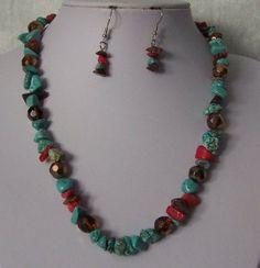 Blue Brown Red Single Strand Turquoise Semiprecious Semi Precious Western Necklace Set