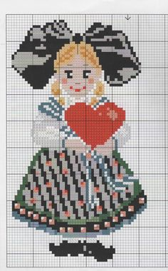 Alsacienne Cute Cross Stitch, Cross Stitch Samplers, Cross Stitch Charts, Cross Stitch Designs, Cross Stitching, Cross Stitch Patterns, Alsace, Stitch Doll, Wool Embroidery