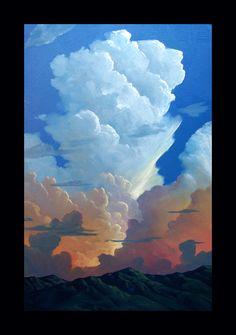Impressionist Art Oil Landscape Western Moon & Clouds Mountains Original Plein air artist Painting. via Etsy.