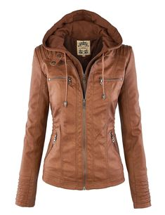 LL Womens Hooded Faux leather Jacket at Amazon Women's Coats Shop