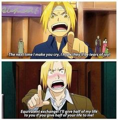 Edward Elric confessind to Winry Rockbell. He has to make everything through alchemy :'D