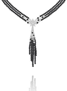 Comète Necklace in 18K white gold, black spinel and diamonds - CHANEL