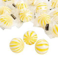 Yellow Striped Hard Candy Balls - OrientalTrading.com