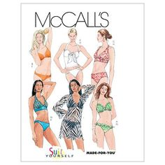 Misses' Two- Piece Bathing Suit and Cover-Up-AX5 (4-6-8-10-12) Pattern, , hi-res