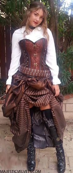 This is similar to the look I'd be going for with the brown skirt. Steampunk Corset w/Double Striped Bustle Skirt