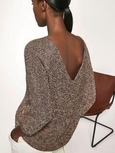 Pull fantaisie confectionné dans un mélange délicat de tissus, décolleté enV dans le dos. Coupe droite, col rond et manches7/8. Pullover, Cardigans For Women, Pulls, Look, Cold Shoulder Dress, Spring Summer, Elegant, Knitting, My Style