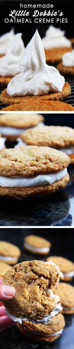 These Little Debbie's Oatmeal Creme Pies copycat are melt-in-your-mouth addicting. The cookies are bursting with buttery, chewy, brown sugar, molasses oatmeal which sand whicha luscious creamy vanilla center. After one bite, you will never want to buy Little Debbies' Oatmeal Creme Pies ever again!x via @carlsbadcraving