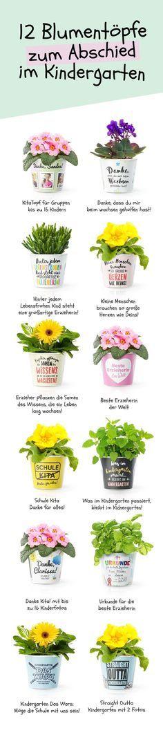 12 Abschiedsgeschenk Blumentöpfe für Kindergarten Erzieher  Personalisiert mit Fotos der Kinder, Namen der Erzieherin oder des Erziehers und einem schönen Spruch, passend zum Abschied