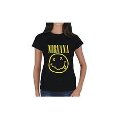 Nirvana Silhouette Graphic Women Shirt Alternative Rock Grunge Tshirt... ($24) ❤ liked on Polyvore