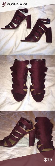 Love D burgundy heels Never worn burgundy chunky heels. Size 7. Super cute and comfortable! Bought them for an event but ended up wearing a whole different outfit. No box included. love D Shoes Heels