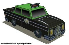 PAPERMAU: 1996`s Portuguese Taxi Paper Model - by Toy Museum In Sintra