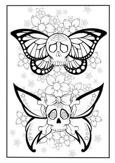 Skull Butterfly Coloring Page by TearingCookie on DeviantArt Make your world more colorful with free printable coloring pages from italks. Our free coloring pages for adults and kids. Emoji Coloring Pages, Tattoo Coloring Book, Printable Adult Coloring Pages, Coloring Pages To Print, Colouring Pages, Coloring Books, Coloring Sheets, Free Coloring, Butterfly Coloring Page