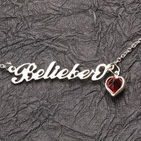 FREE SHIP Silver Belieber Necklace Justin Bieber Swarovski Heart