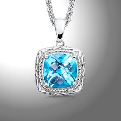 Swiss Blue Topaz Pendant - A Majestic Sterling Silver 12 mm Faceted Swiss Blue Topaz Pendant and Chain.$595